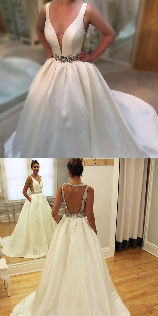 2017 Custom Made White Prom Dress,Backless Party Dress,Beaded Evening Dress,V-Neck Prom Dress