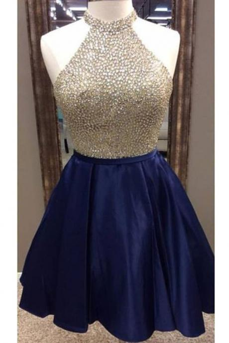 Dark blue satins beading sequins halter A-line short prom dresses ,club dresses