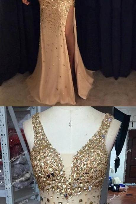 Rhinestone Beaded Mermaid Prom Dresses,Shinny Long Prom Dresses,Nude Prom Dresses,Mermaid Eevning Dresses