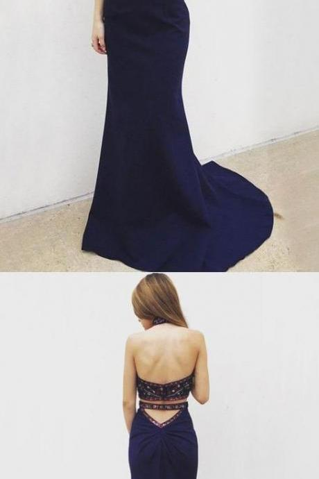Sexy Two Piece Mermaid Halter Backless Navy Blue Long Prom Dress with Beading Embroidery