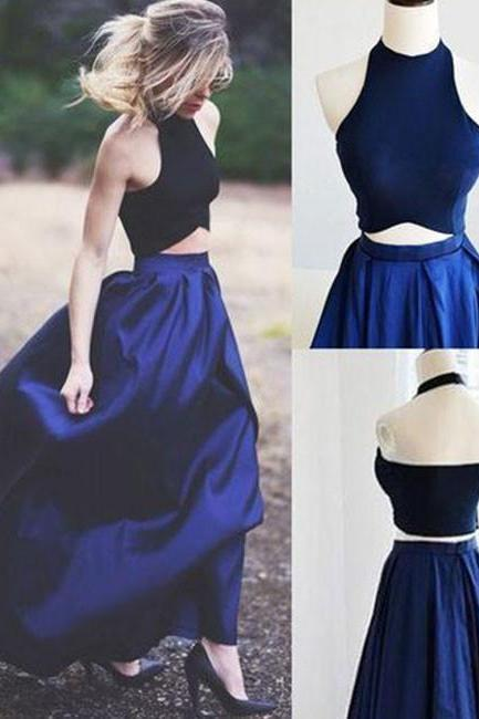 SIMPLE DARK BLUE TWO PIECES HALTER SATIN LONG PROM DRESS EVENING DRESS