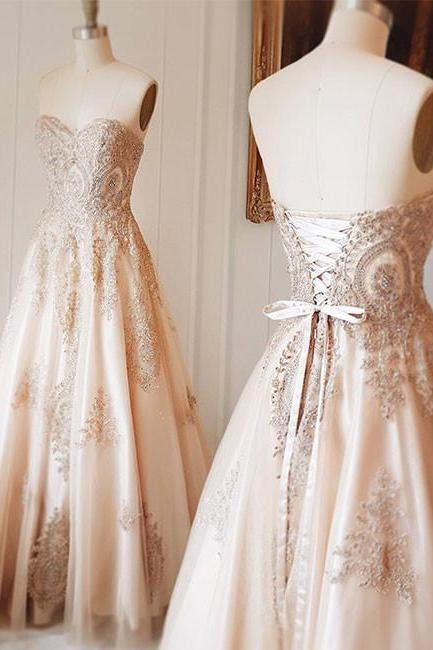 GORGEOUS CHAMPAGNE LONG PROM DRESS SWEETHEART LACE APPLIQUE EVENING DRESS