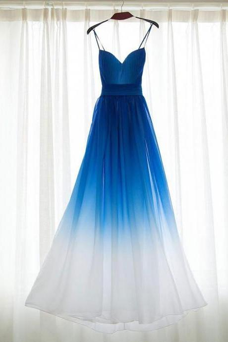 Blue Ombre Chiffon Plunge V Spaghetti Straps Floor Length A-Line Formal Dress, Prom Dress