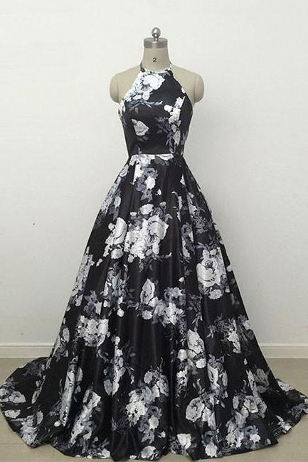 SIMPLE BLACK Flower Ball Gown Halter Satin LONG PROM DRESS BLACK EVENING DRESS