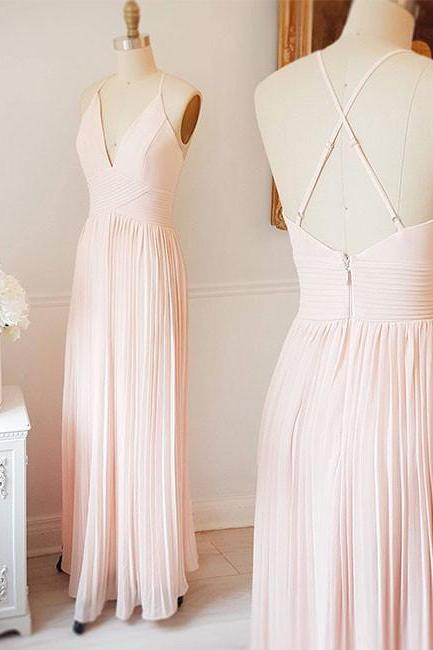 CUTE LIGHT PINK A LINE V NECK CHIFFON LONG PROM DRESS PINK EVENING DRESS