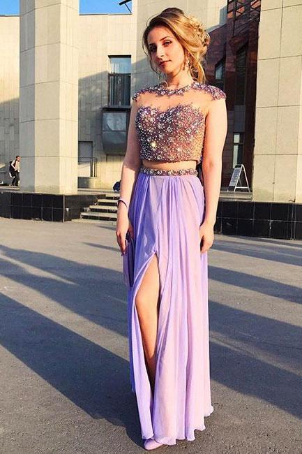 ELEGANT PURPLE TWO PIECES A-LINE ROUND NECK BEADED LONG PROM DRESS PURPLE EVENING DRESS