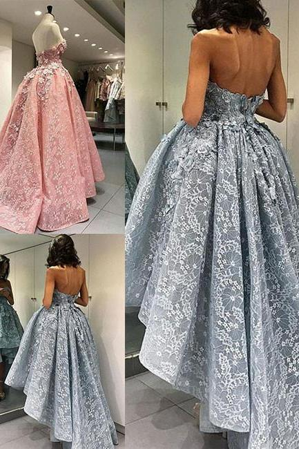 Charming Ball Gown Strapless Lace High-low Prom Dress