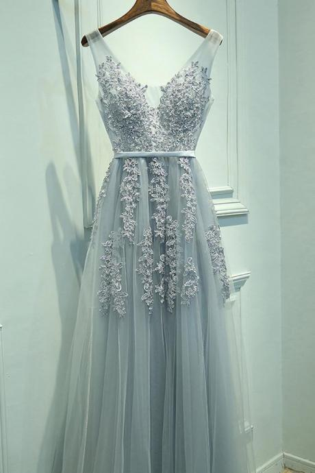 New Charming Gray A-line V-neck Applique Chiffon Long Evening Dresses Elegant Prom Dress