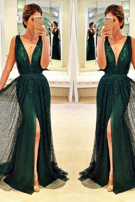 Sexy Dark Green A-line Sleeveless V-Neck Front Split Sequined Chiffon Prom Dress