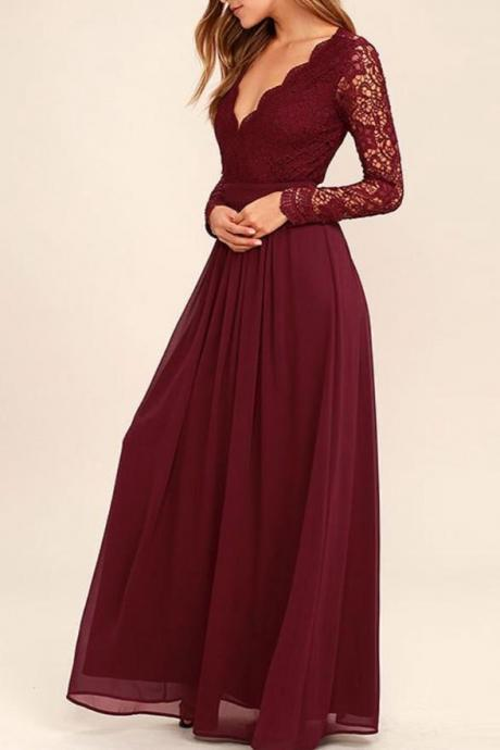 Elegant Burgundy A-line V-neck Long Sleeves Lace Chiffon Prom Dress