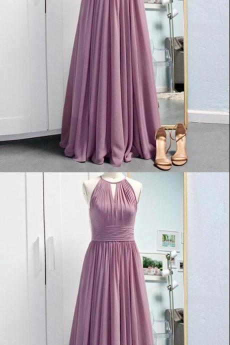 SIMPLE PINK A-LINE HALTER CHIFFON LONG PROM DRESS BRIDESMAID DRESS