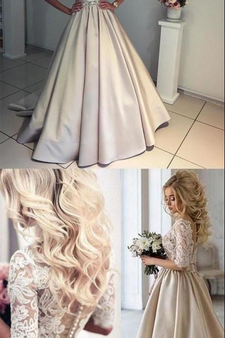 UNIQUE CHAMPAGNE A-LINE V NECK HALF-SLEEVE LACE SATIN PROM DRESS CHAMPAGNE WEDDING DRESS