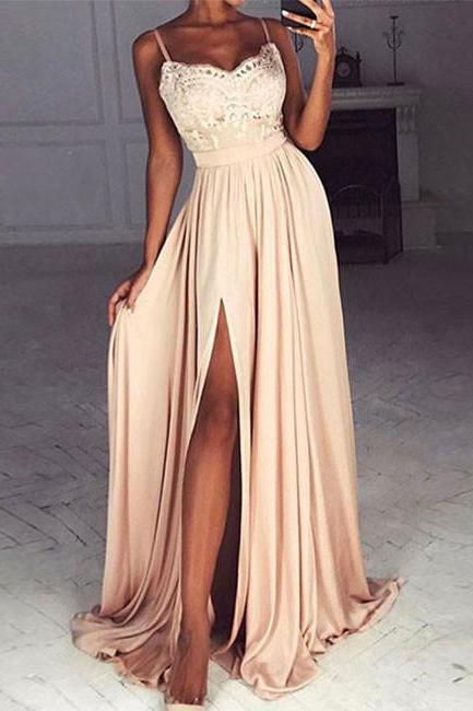 CHAMPAGNE A-LINE SWEETHEART SPAGHETTI STRAPS LACE LONG PROM DRESS FORMAL DRESS