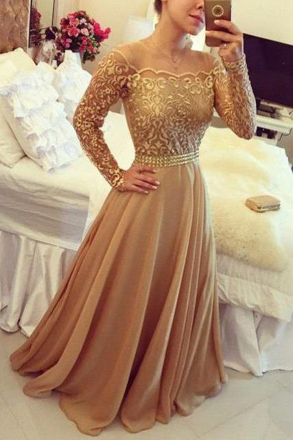 Golden A Line Dress Off Shoulder Long Sleeve Chiffon Party Prom Dresses For Women