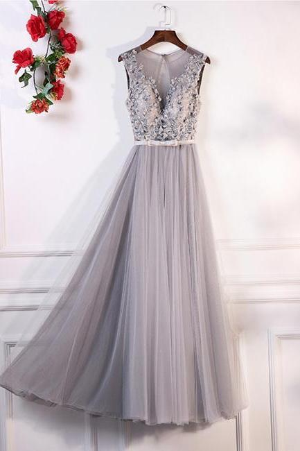 GRAY A-LINE ROUND NECK LACE TULLE LONG PROM DRESS, GRAY EVENING DRESS