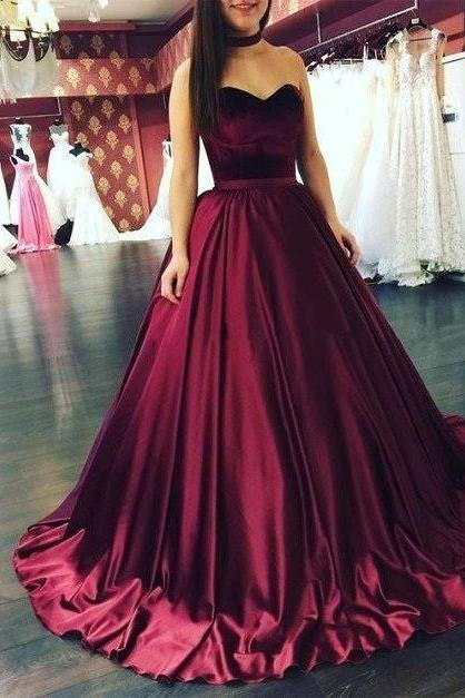 Unique A Line Sweetheart Burgundy Long Ball Gown Prom Dress Evening Dresses