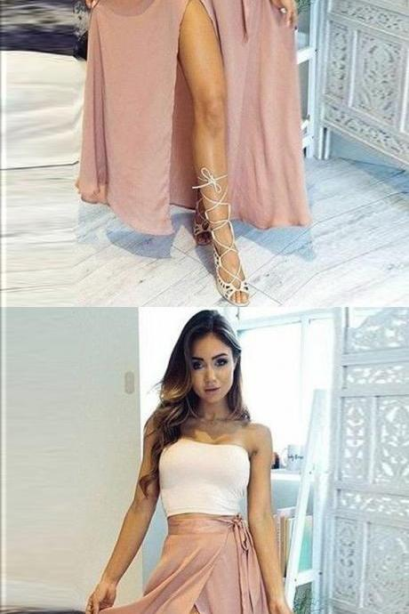 Two Piece Strapless Ankle-Length High Split Pink Chiffon Prom Dress