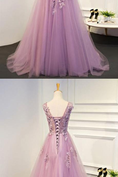 Purple A-line Round Neck Scoop Floor Length Applique Tulle Evening Dress Prom Dresses