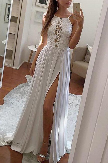 SIMPLE WHITE A-line LACE CHIFFON LONG PROM DRESS WHITE EVENING DRESS