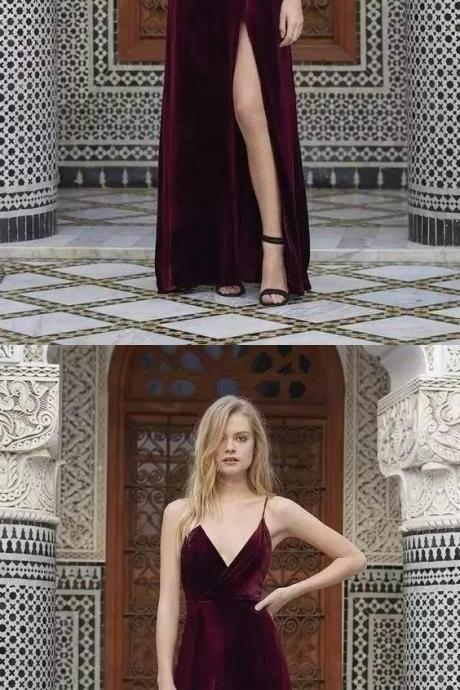 SIMPLE BURGUNDY V NECK VELVET LONG PROM DRESSES, BACKLESS EVENING DRESS.