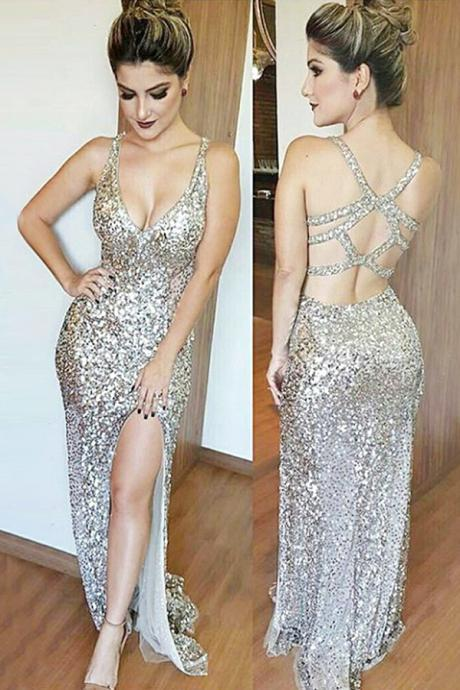 Mermaid Deep V-Neck Floor-Length Split-Side Open Back Silver Sequined Prom Dress
