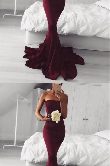 BURGUNDY MERMAID LONG PROM DRESS, BURGUNDY EVENING DRESS