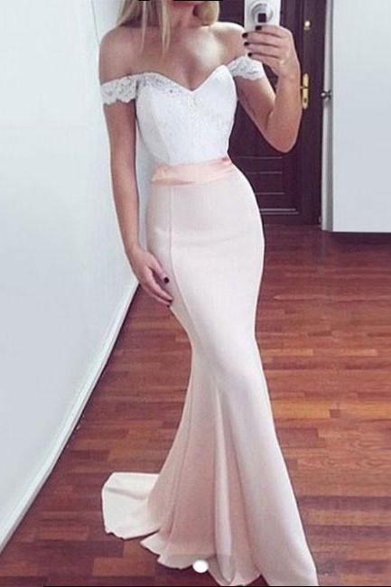 WHITE OFF SHOULDER LACE MERMAID LONG PROM DRESS, BRIDESMAID DRESS