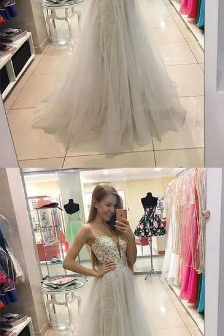 WHITE SWEETHEART LACE TULLE LONG PROM DRESS, WHITE EVENING DRESS