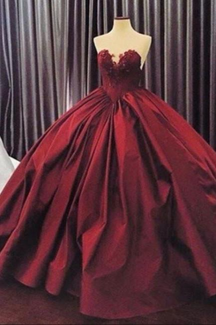 BURGUNDY LONG PROM GOWN SWEETHEART NECK BURGUNDY EVENING GOWN