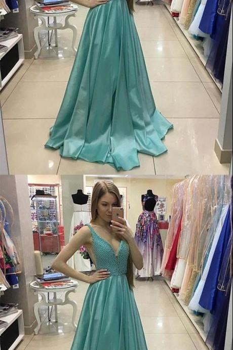 GREEN V NECK BEADS LONG PROM DRESS, GREEN EVENING DRESS