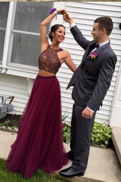 Two Piece Halter Burgundy Tulle Open Back Beaded Prom Dress