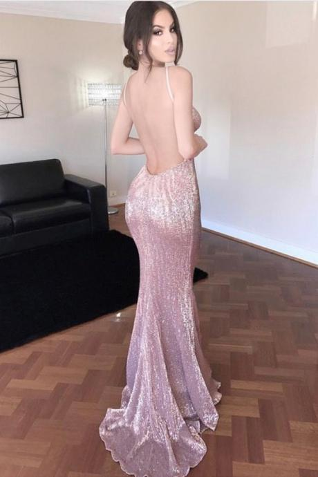 Mermaid Deep V-neck Backless Blush Sweep Train Sequined Prom Dress