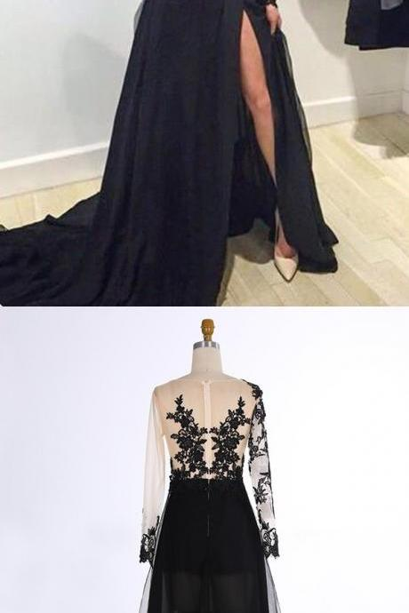 A-Line V-Neck Sweep Train Long Sleeves Split-Side Black Prom Dress with Appliques