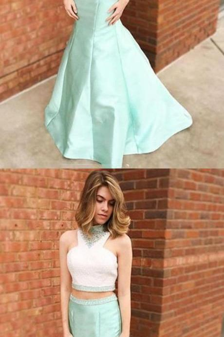 Mermaid Lace Two Piece Beading High Neck Sleeveless Sweep Train Mint Prom Dress