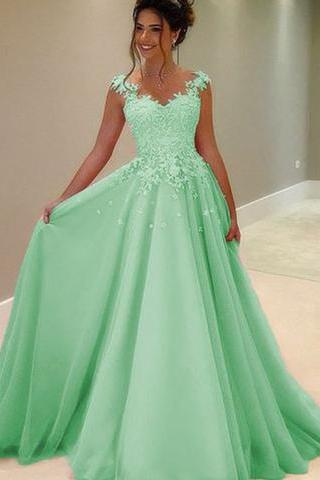 Green tulle lace round neck A-line long prom dresses with straps