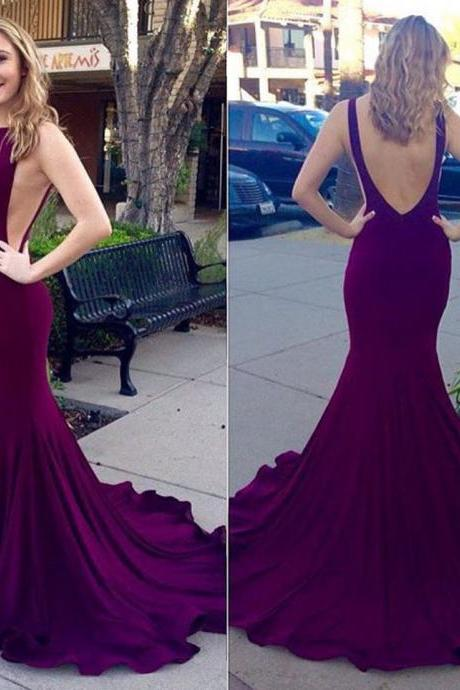 Unique Purple Prom Dress with Court Train, Sexy Backless Mermaid Prom Dresses, Sleeveless Silk-like Satin Gowns for Prom