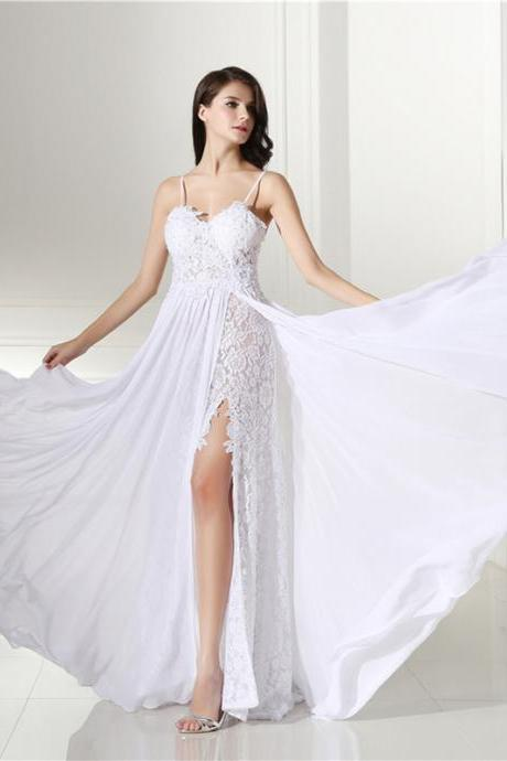 White Beach Dress Sweetheart Spaghetti Straps Split Side Lace Chiffon Beautiful Long A-line