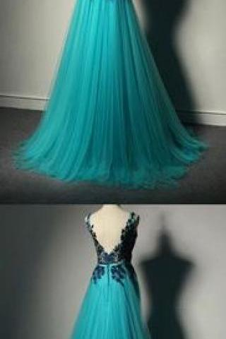 New Fashion Prom Dresses,Blue Prom Dress,Tulle Formal Gown,Lace Prom Dresses,Black Evening Gowns,Tulle Formal Gown