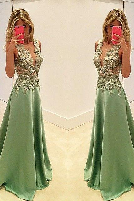 Affordable Deep V-neck Prom Dress with Sweep Train, Sleeveless Prom Dress with Lace Appliques, Silk-like Satin Prom Dress