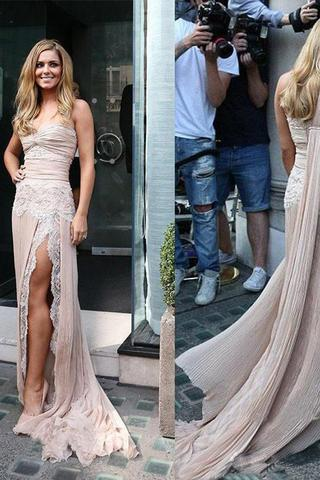 Celebrity Inspiration Style One Shoulder Lace Long Sheath Side Slit Prom Dresses