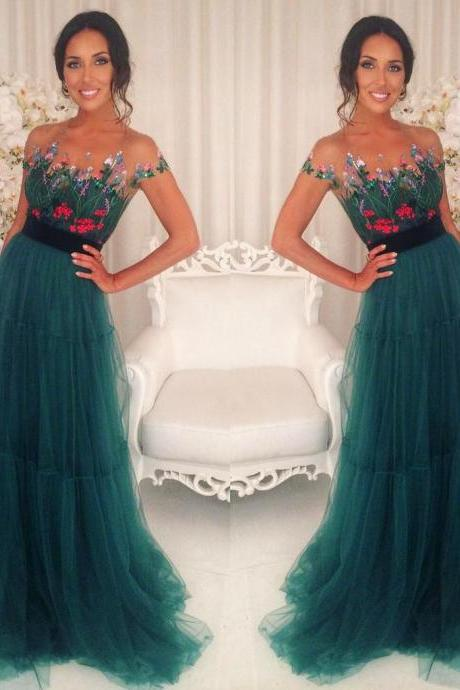Green A-line formal charming short sleeves tulle teal long prom dress