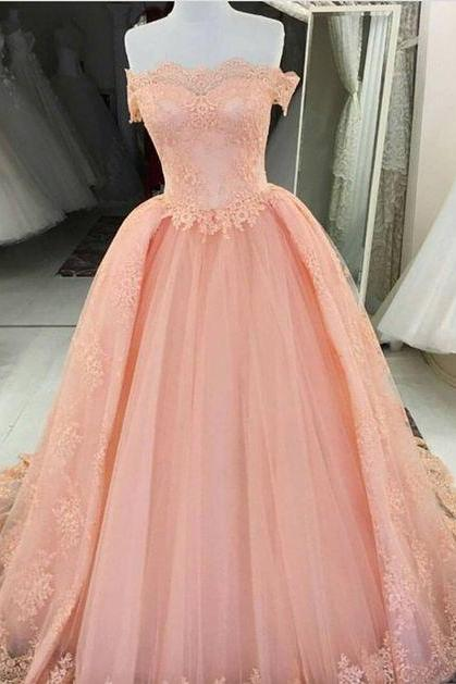 Off Shouldr Ball Gown Tulle Prom Dresses Lace Appliques WOmen Dresses