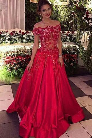 Off the Shoulder Beads Sequins Stretch Satin Long Red A-line Prom Dresses