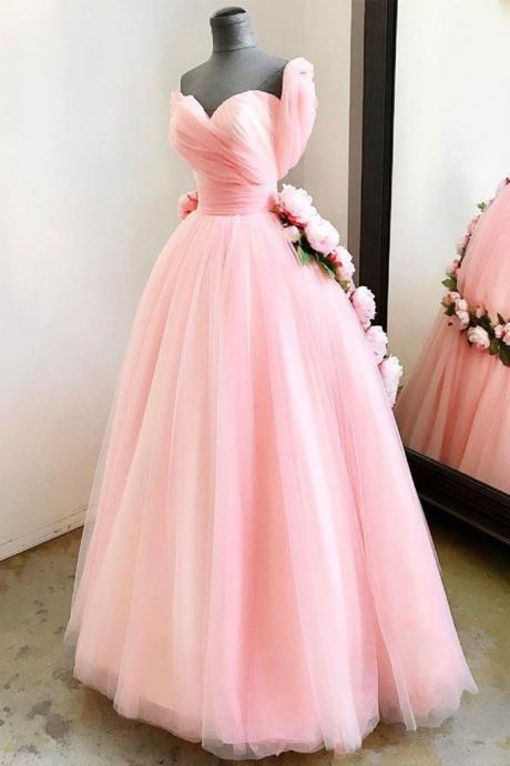 PINK SWEETHEART TULLE LONG PROM DRESS