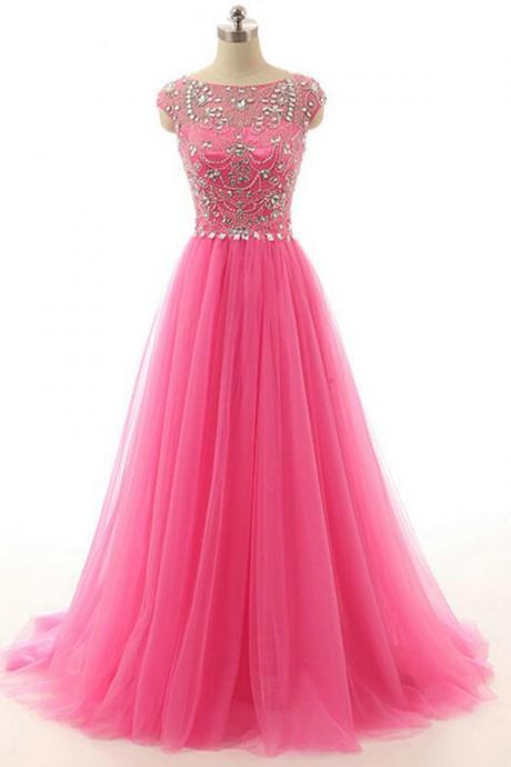 Hot Pink Beaded Long Zipper Modest Evening Prom Dresses