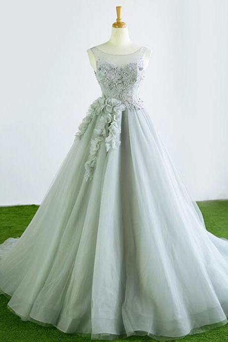 Gray tulle court train winter formal prom dress, halter 3D flower evening dress