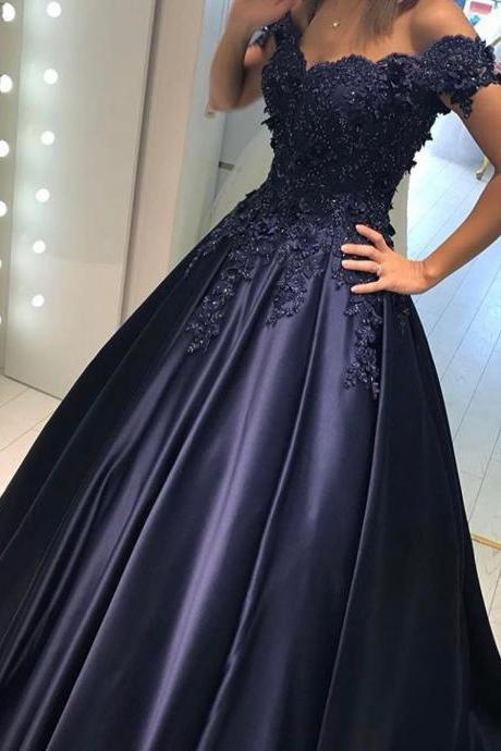 Lace Flower Off the Shoulder Satin Prom Dresses Ball Gowns A-Line Sweep Train Navy Blue Prom Dress with Appliques Beading