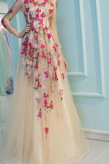 CHAMPAGNE TULLE APPLIQUE LONG PROM DRESS, CHAMPAGNE EVENING DRESS
