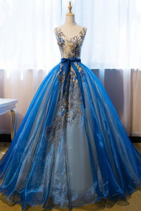 UNIQUE V NECK BLUE EMBROIDERY LONG PROM DRESS