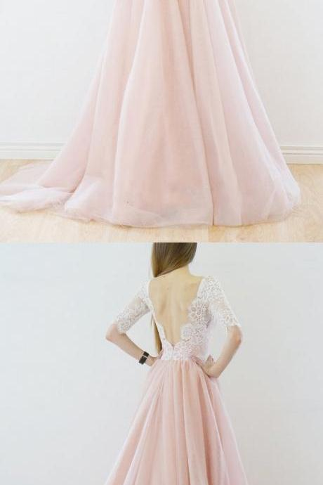 Elegant A-line White Sleeves Pink Long Tulle Wedding Dress